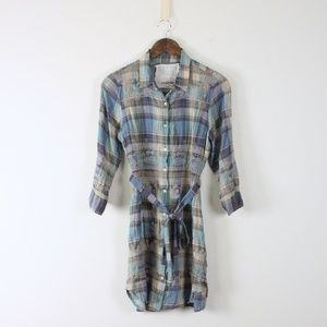 Johnny Was Embroidered Plaid Belted Tunic Dress